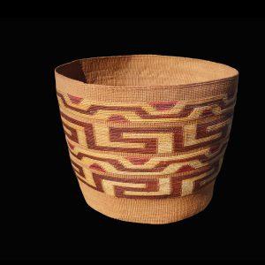 Large Complex Design Tlingit Storage Basket Late 1800's