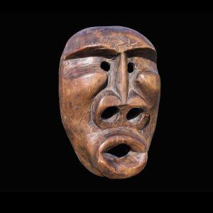 Fine Rare Alaskan Eskimo Inupiaq King Island Mask Circa 1920