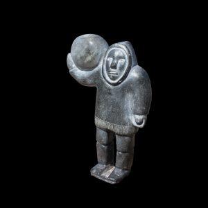 Fine Inuit Eskimo Stone Carving Depicting Strongman Holding Rock Signed Circa 1960