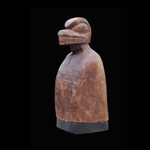 Rare Kwakiutl Post Finial Man Wearing Headdress Circa 1880