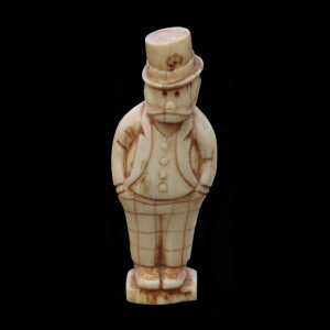 Fine Inuit Eskimo Ivory Carving By Happy Jack Depicting Jeff Cartoon Figure Circa 1910