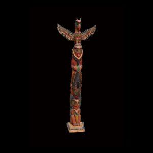Fine Rare Large Early Kwakiutl Totem Pole By Charlie James (1867-1938)