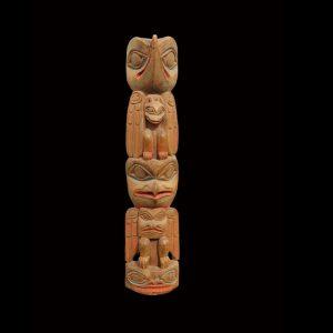 Very Rare 19th Century Haida Hollow Back Totem Pole