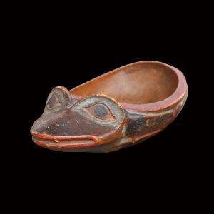 Fine Rare Tsimshian Frog Form Feast Bowl Circa 1870