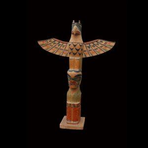 Fine Rare Kwakiutl Indian Cedar Totem Pole Alert Bay Arthur Shaughnessey (1880-1946)