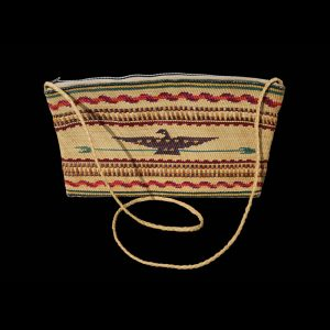 Very Fine Rare Early Pictorial Nuu-chah-nulth Makah  Basketry Covered Purse Circa 1920