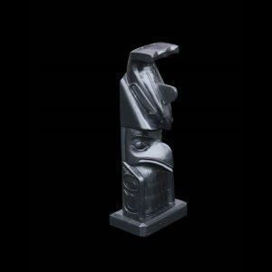 Important Rare Early Haida Argillite Totem by Robert Davidson (b1946-)